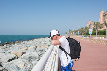 young man on the Palm Jumeirah, Dubai