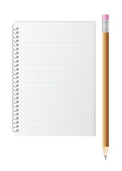 blank lined paper and pencil with eraser