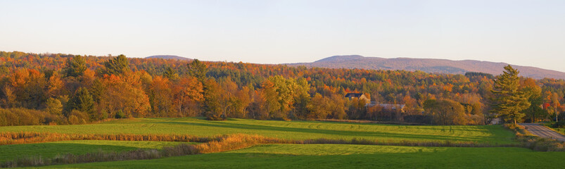 Autumn Panorama In The Late Afternoon Sun; Foster, Quebec, Canada