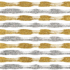 Seamless pattern of gold and silver lines or strokes, seamless background grunge golden and silvern stripes, hand drawn vector pattern for textile, wallpaper, web, wrapping, wedding, card, paper