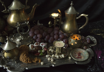 Still Life. Traditional Oriental Sweets on Vintage Moroccan Tray