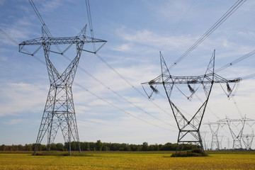 Power Transmission Towers And Lines; Boucherville, Quebec, Canada
