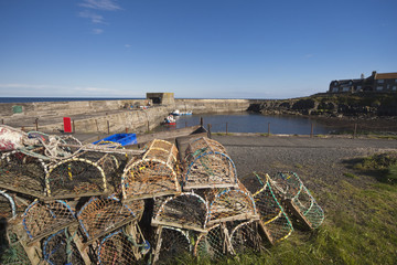 Fishing Traps And Nets On The Shore; Craster, Northumberland, England