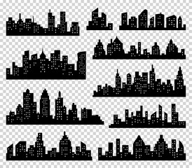 City silhouette vector set. Panorama  background. Skyline urban border collection. Buildings with windows