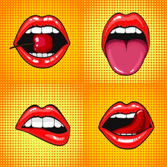 Close up view of young pretty woman lips portrait biting a cherry. Open month with white teeth and tongue. halftone dots background. Set Pop art comic style month.