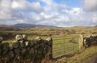 A Metal Gate In A Stone Wall With A Landscape Of Rolling Hills; Dumfries, Scotland