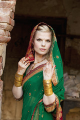 Portrait Of A Blond Woman Wearing A Sari And Headscarf; Ludhiana, Punjab, India