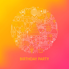 Line Birthday Icons Circle Concept