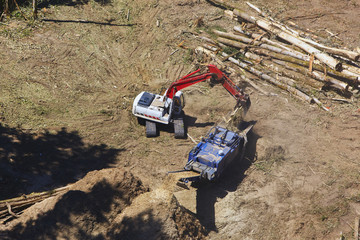 Aerial View Of Heavy Equipment Clearing Land For Development; Portland, Oregon, United States of America