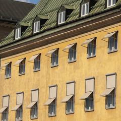 Windows Open Along The Side Of A Building; Stockholm, Sweden