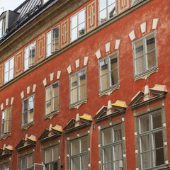 Facade Of A Red Building In Old Town; Stockholm, Sweden