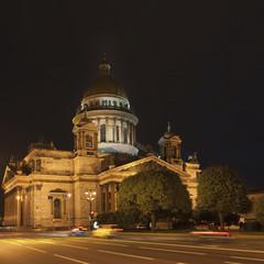 Saint Isaac's Cathedral Illuminated At Night; St. Petersburg, Russia
