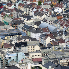 A High Angle View Of A Residential Area; Bergen, Norway