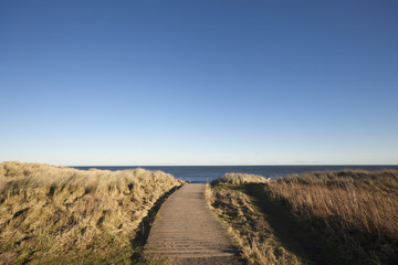 A Path Leading To The Ocean At Druridge Bay; Northumberland, England