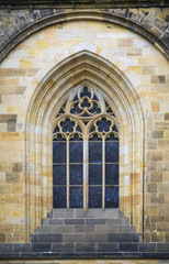 Window Detail On The 14Th Century Gothic Style Saint Vitus Cathedral Located In The Prague Castle District; Prague, Czech Republic