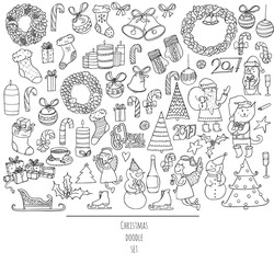 Christmas set of hand drawn doodles in simple graphic style. Vector black and white illustration with christmas accessories as christmas tree, decoration, santa and more. Black outline on white