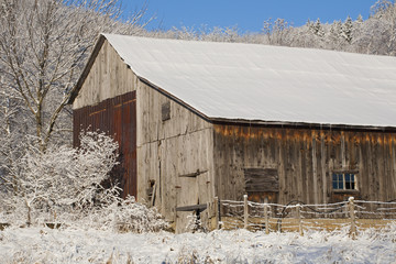Old Barn In Winter; Iron Hill, Quebec, Canada