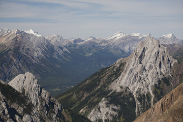View of mountain peaks and valley