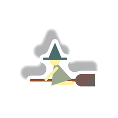 Vector illustration paper sticker Halloween icon witch on broom