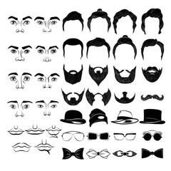 Male Faces Monochrome Constructor