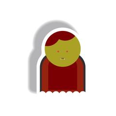 Vector illustration paper sticker Halloween icon Vampire Dracula