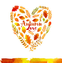 Heart of watercolor Autumn leaves