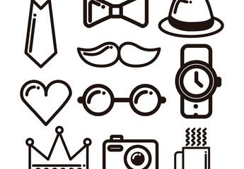 10 Heavy Outline Cartoon Trend Icons