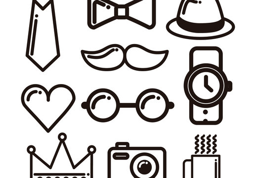 10 Heavy Outline Cartoon Trend Icons
