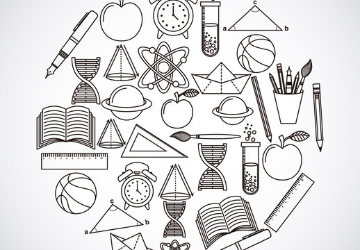 Black and White School Supplies and Tools Icon Set