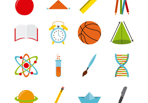 16 Color School Supplies and Tools Icon Set
