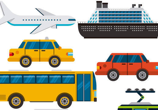 8 Large and Detailed Transportation Icons