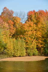 Fall landscape eastern township Bromont, Quebec, canada