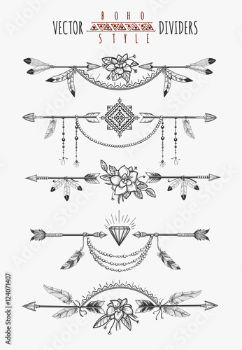Quot Arrow Feather Drawing Page Dividers Wild Boho Gypsy