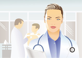 Portrait of beautiful female doctor in a white medical coat with a stethoscope and papers on the background of the situation in the clinic, hospital