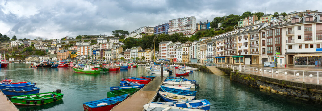 Panoramic of Luarca Old Port, Asturias, Spain. Luarca it is a fishing and pleasure port of the municipality of Valdes.