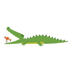 Cute crocodile character vector