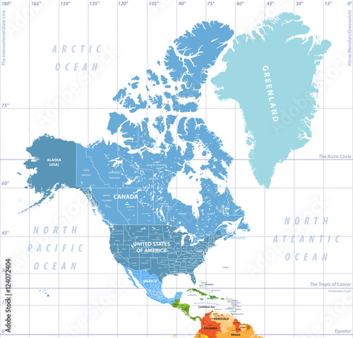 Map Of North America Time Zones.Vector High Detailed North America Time Zones Map All Elements