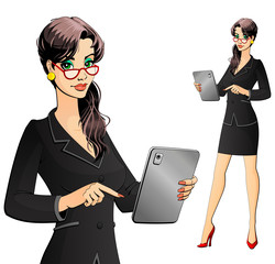 Businesswoman, secretary or lawyer working on a tablet computer.