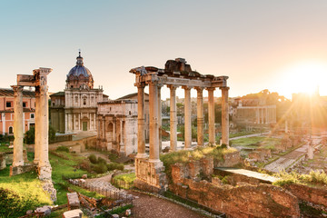 Roman Forum at sunrise, Italy