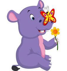 Cartoon cute baby hippo