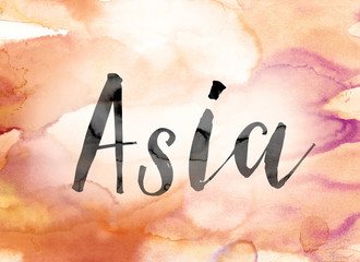Asia Colorful Watercolor and Ink Word Art