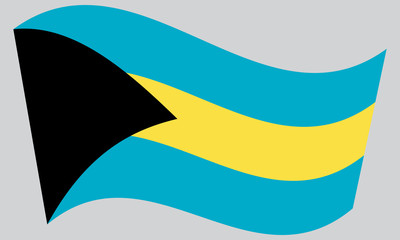 Flag of Bahamas waving on gray background