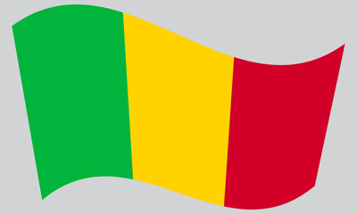 Flag of Mali waving on gray background