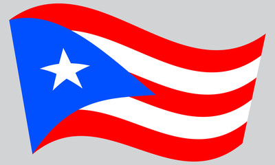 Flag of Puerto Rico waving on gray background