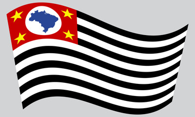 Sao Paulo, Brazil state, flag wavy gray background