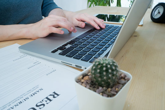 Office table with Resume information, Cactus flower on pot and B