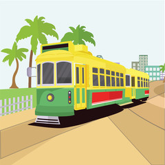 Vector illustration of colorful tram