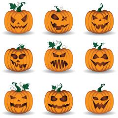 Halloween Pumpkin Set isolated on white background.