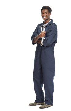 African-American car mechanic.