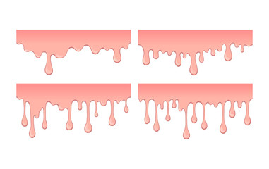 Set of pink bubble gym or melting ice cream. Flow of sweet sticky liquid. Abstract illustration of splash. Burst off bubblegum. Cartoon design